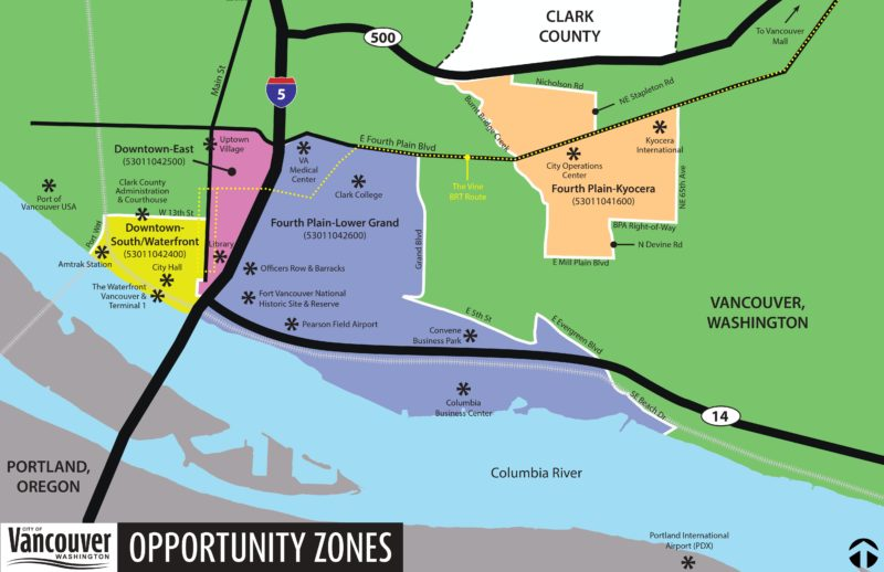 Map of Opportunity Zones in Vancouver, Washington